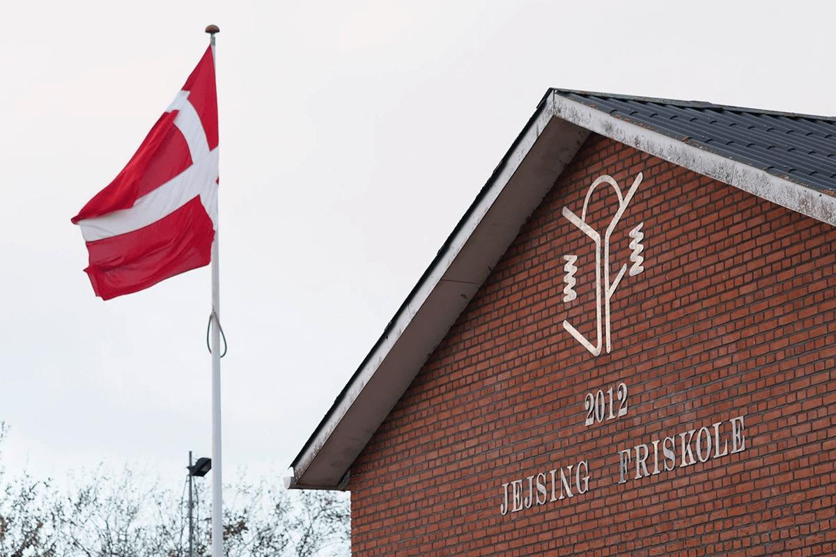 Billede af Friskolen og Danmarks flag